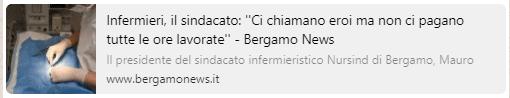 INTERVISTA NURSIND BERGAMO SU PROBLEMA PAGAMENTO ORE LAVORO PERIODO CORONAVIRUS